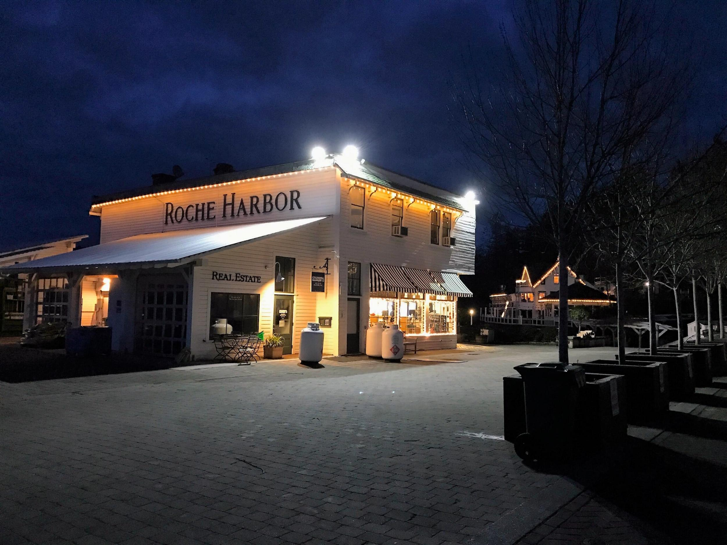 Roche Harbor's cute General Store at Night